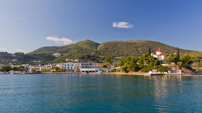 The port of Palaia Epidaurus village Stock Images