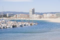 Port in Palamos. Harbor with pleasure boats and fishing in Palamos, Costa Brava Royalty Free Stock Photo