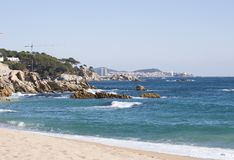 Port in Palamos. Harbor with pleasure boats and fishing in Palamos, Costa Brava Stock Photos