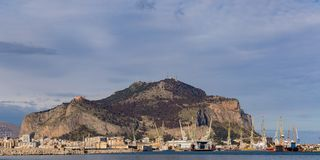 The port in Palermo with Mount Pellegrino and Utveggio Castle. The port with Mount Pellegrino and Utveggio Castle in the background, Palermo, Sicily, Italy Stock Photos