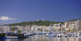 Port of Palma and Bellver Castle stock photography