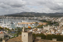 Port and palma de mallorca seaside. Palma de Majorca´s port view from the cathedral tower, seaside promenade and port wide aerial view, in the spanish island of Stock Photography