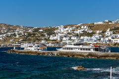 Port and panoramic view to town of Mykonos, Greece Stock Photography