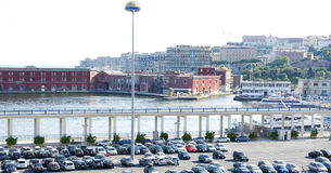Port and Parking area of Naples Stock Image