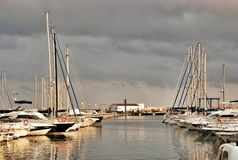 Port parking fishing yachts and boats in Cambrils Spain. Cambrils the small tourist town grew from the fishing settlement in 17 km from Tarragona and in 4 km to Royalty Free Stock Photos