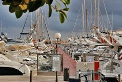 Port parking fishing yachts and boats in Cambrils Spain. Cambrils the small tourist town grew from the fishing settlement in 17 km from Tarragona and in 4 km to Royalty Free Stock Photography