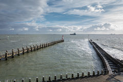 The port. A passing vessel off the coast of the town of Vlissingen, the Netherlands Royalty Free Stock Photos