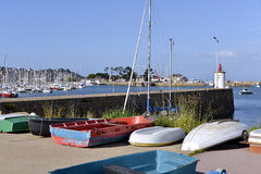 Port of Perros-Guirec in France. Small boats in the port of Perros-Guirec, a commune in the Côtes-d`Armor department in Brittany in northwestern France Stock Photos