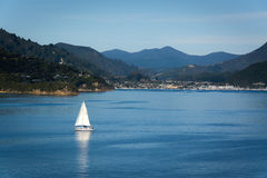 Port of Picton seen from ferry from Wellington to Picton via Marlborough Sounds, New Zealand Royalty Free Stock Photography