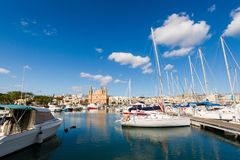 Port in Pieta on Malta. Colorful touristic landscape of Port in Pieta city on Malta island. Beautiful seascape in south Europe Royalty Free Stock Image