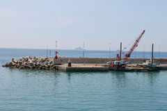 Port of Piombino, view from sailing ferry boat, Toscana, Italy Royalty Free Stock Photos