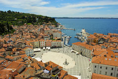 The port of Piran. An overview of the port of Piran in a sunny afternoon Stock Images
