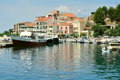 Port of Podgora in Croatia with some boats. Podgora is a popular holiday resort royalty free stock photo