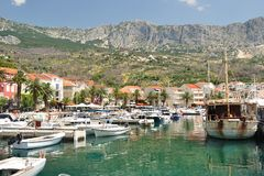 Port of Podgora with ships. Croatia Stock Photos