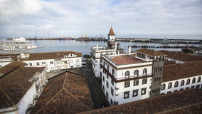 Port of Ponta Delgada on the Sao Miguel island, Atlantic ocean. Royalty Free Stock Image