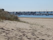 The port of Pornichet in France seen dunes of beach royalty free stock images