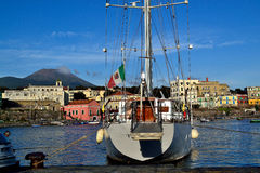 Port of Portici City and Vesuvius Stock Photos