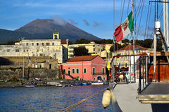 Port of Portici City and Vesuvius Stock Image