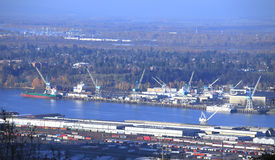 Port of Portland Oregon. The port of Portland and surrounding areas Stock Photos