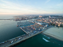 Port in Porto during sunset. Aerial view at sunset Royalty Free Stock Photos