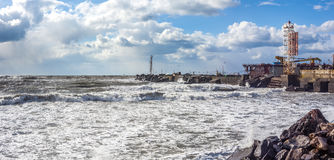 Port of poti in stormy day, Black Sea, Georgia.  Royalty Free Stock Images