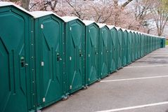 Port-a-potty. Line of port-a-potties before an event Stock Photos