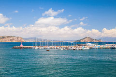 Port of Procida island with moored yachts Royalty Free Stock Photos