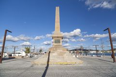 Port promenade,obelisk, monument, tribute to corsairs in Ibiza,. Spain royalty free stock photography