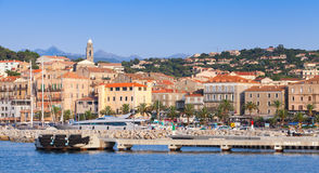 Port of Propriano resort town, South Corsica. Propriano, France - July 3, 2015: Port of Propriano resort town, South region of Corsica island, France. Pier and Royalty Free Stock Image