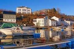 Port quays of moored boats secured winter Royalty Free Stock Images