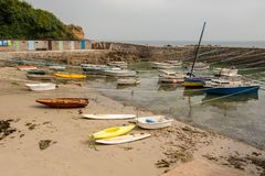 Port Racine near Auderville, Normandy France low tide. In summer stock images