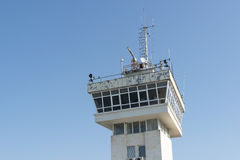 Port radar tower. On blue sky Royalty Free Stock Image