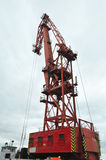 Big red sea port crane. Image was taken on August 2012 Royalty Free Stock Photos