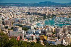 The port and residential houses of Palma Stock Photo