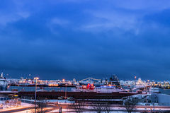 Port in Reykjavik in the lights, Iceland Stock Photography