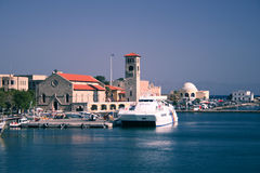 Port of Rhodes Town. Image taken from a ferry while leaving the port of Rhodes Town, on the Greek island bearing the same name royalty free stock image