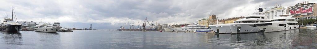 Port of Rijeka. RIJEKA, CROATIA - OCTOBER 17: Port of Rijeka on OCTOBER 17, 2014. Commercial harbor with big yachts in Rijeka, Croatia stock photos