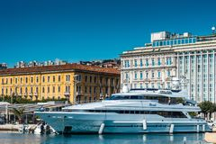 Luxury boat in port of RIjeka. Port of Rijeka in Croatia photography with skyline royalty free stock photography