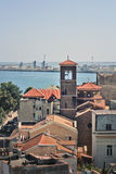 Port in Romania. The Tomis Port-in Constanta, Romania, at the Black Sea, seen from above Stock Photography