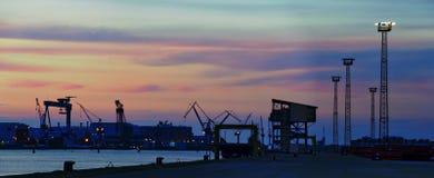 port of Rostock at sundown Stock Photo