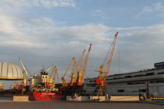 The port of Rostov-on-Don. River port. cranes loading cargo on the ship Stock Image