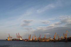 The port of Rostov-on-Don. River port. cranes loading cargo on the ship Royalty Free Stock Photography