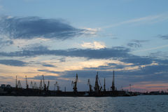 The port of Rostov-on-Don. River port. cranes loading cargo on the ship Royalty Free Stock Photo