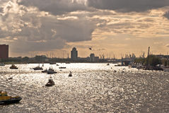 Port of Rotterdam in Backlight Stock Photo