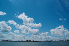 The port of Rotterdam with blue sky Royalty Free Stock Photo