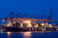 Container port at night Stock Photography