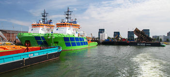 Port of Rotterdam, largest port in Europe Stock Photos