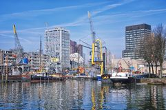 Port in Rotterdam, Netherlands Royalty Free Stock Image