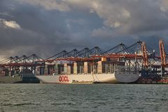 Huge Container Ship Stock Images