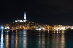 Port of Rovinj in the night in Croatia Stock Image